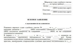 Исковое заявление о взыскании неустойки по задолженности по алиментам судебному приставу: образец 2018 года