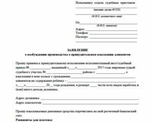 Заявление судебным приставам о взыскании алиментов: образец