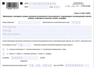 Образец заполнения заявления на возврат НДФЛ - как заполняется