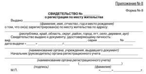 Регистрация по месту жительства